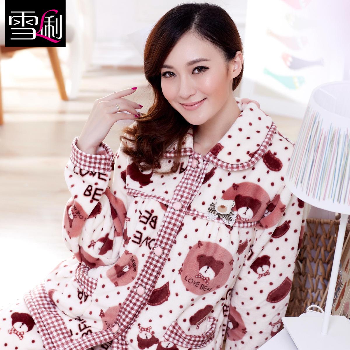 雪俐新品秋冬季加厚法兰绒女士睡衣家居服冬天睡衣套装 8228 价格:138.00