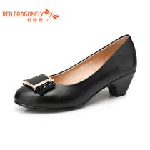 红蜻蜓 真皮女单鞋 2013新款正品时尚正装休闲串珠中跟粗跟女鞋 价格:209.00