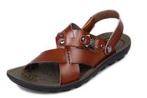 美国宾度 高档时尚韩版男凉鞋 超纤皮男沙滩鞋 66318 包邮 价格:128.00