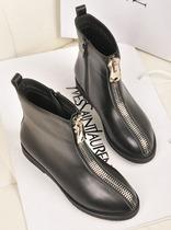 欧洲站2013 新款 女短靴圆头平跟侧拉链短靴骑士靴马丁靴欧美潮靴 价格:385.00