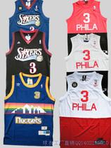 包邮NBA复古球衣76人3号掘金队篮球服艾弗森球衣细网眼优质面料 价格:70.00