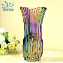 碧丽 欧式剑兰炫彩台面花瓶 水晶玻璃水培花器 时尚创意插花摆件 价格:99.00