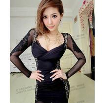 2012韩版夜店 两侧蕾丝绣花袖性感 修身 连衣裙6286 价格:26.00