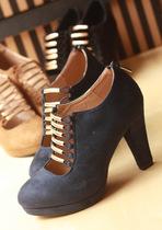 气质优雅西施绒材质金属装饰镂空感水台高跟鞋高帮女鞋 价格:76.30