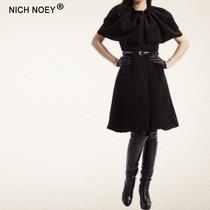 秋冬女装新款长款披肩领无袖高档羊毛呢大衣单排扣修身外套优雅黑 价格:598.00