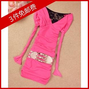 实拍 夏装新款蕾丝大露背无袖连衣裙褶皱显瘦假腰带弹力夜店装 价格:39.90