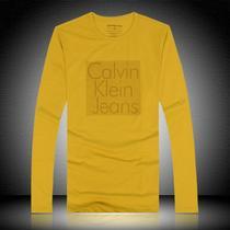 2013秋装Calvin Klein CKt恤男士T恤莱卡棉圆领长袖T恤男装1122黄 价格:68.00