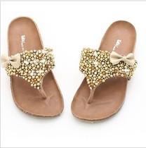 他她2013夏季新款绒面真皮串珠镶水钻时尚人字拖平底女凉拖鞋| 价格:175.00
