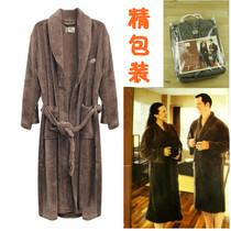 外贸原单KANATA 男 加厚保暖长款珊瑚绒浴袍 睡袍浴衣 价格:59.00