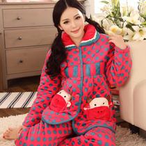 造福鸟2013新款冬季女士夹棉圆点睡衣女夹棉卡通家居服居家服套装 价格:158.00