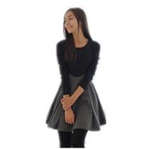 2013春装新款圆领长袖拼接韩版时尚气质显瘦大码百搭连衣裙女装 价格:32.00