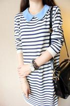 韩国代购 韩装女装新款推荐小领子装饰百搭条纹中长款套头毛衣 价格:109.00