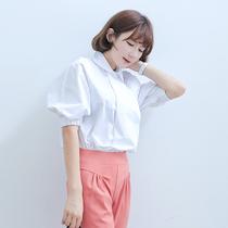 2013秋装新款韩国女装翻领灯笼袖泡泡中袖宽松衬衫衬衣女AJ002 价格:55.00