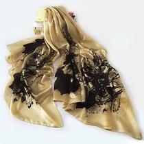 新款气质时尚真丝丝巾正品 桑蚕丝长巾防晒围巾披肩两用加宽超大 价格:79.15