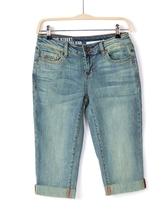 美国大牌DKNY原单女装复古卷边五分牛仔裤 外贸胖mm大码显瘦中裤 价格:65.00
