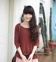 nana 独售 文艺 复古 全麻立体绣花 宽松 中袖 T恤 T130412 价格:78.00