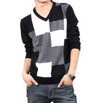 秋装新品男式装 韩版修身长袖V领t恤 时尚体恤衫 休闲针织T恤男款 价格:56.00