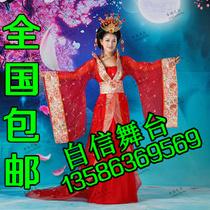 古装唐装汉服大唐拖尾贵妃服装仙女古装美公主演出服装华丽贵妃装 价格:158.00