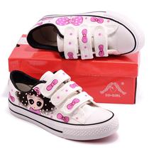 大码魔术贴手绘学生帆布鞋蝴蝶结板鞋女韩版fanbuxie潮可爱40 43 价格:39.44