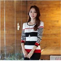 2013秋装新款韩国代购版修身圆领针织衫显瘦长袖女T恤 打底衫女T 价格:39.99