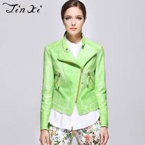 金熹 2013年秋季新款 小立领经典短款PU皮衣女外套修身显瘦J33212 价格:270.00