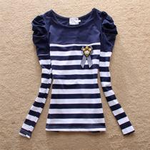 2013秋季新款上衣打底衫女装小衫 韩国学生泡泡袖条纹长袖T恤女潮 价格:39.00
