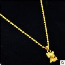 周大福18k黄金项链女士项链招财猫金鱼吊坠999千足金成色项链包邮 价格:68.00
