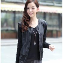 包邮2013秋季大码女装新款 韩版修身外套短款拼接毛线皮衣小夹克 价格:168.00