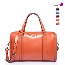 2013新款女士包包红色女包牛皮包单肩斜跨两用潮大包波士顿包 价格:299.00