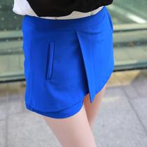 2013夏装新款 韩版时尚休闲侧拉链假口袋裙裤 假两件短裤女 热裤 价格:48.00