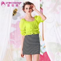 茵佳妮夏装新款韩版女圆领假两件拼接条纹修身甜美泡泡袖连衣裙 价格:135.90