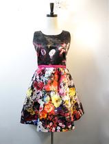 欧美复古早秋款彩绘渲染印花花朵修身显瘦无袖蓬蓬裙连衣裙小礼裙 价格:118.00