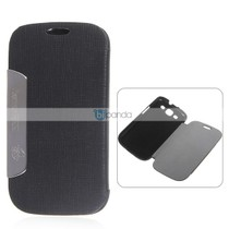 ather Wallet Case in Fashion Design Stand for i9300 - Black 价格:47.02