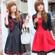 秋装新款气质淑女套裙 时尚大码显瘦款韩版长袖两件套连衣裙长裙 价格:65.00