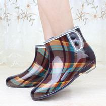 新款时尚套鞋短筒保暖雨鞋韩国透明女士雨靴外贸防水靴胶鞋女式特 价格:17.00