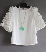 木耳边白色雪纺上衣唯美立体花朵中袖仙女雪纺衫浮夸宫廷风 现货 价格:65.00