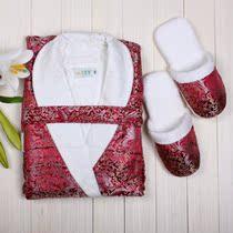 竹丽雅 100%正品 绸缎面 竹纤维浴袍 男士  双层抗菌睡袍 送棉拖 价格:268.00