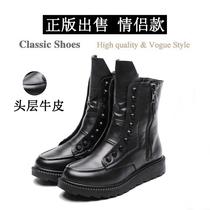欧版黑真皮机车铆钉朋克鞋英伦男女靴子内增高厚底马丁靴短靴女鞋 价格:262.52
