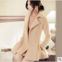 2013秋冬装欧美原单新款 韩国代购加厚羊毛呢大衣双排扣女装外套 价格:178.00