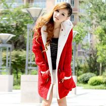 2013秋冬新款女装加厚加绒毛衣女开衫中长款大码女式连帽毛衣外套 价格:98.00