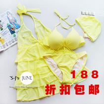香港罗日雅专柜 正品可爱四件套女式钢托聚拢比基尼泳衣泳装 价格:188.02