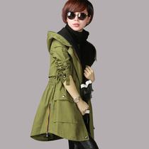 2013新款 韩版收腰显瘦连帽中长款大码军绿色风衣女春秋外套9006 价格:198.00
