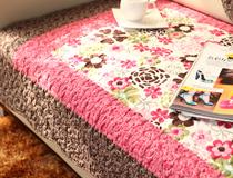 全棉绗缝布艺沙发垫 坐垫 沙发巾 地垫 玫红大花 Mat 价格:1.00