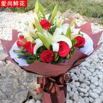 妇女节百合玫瑰花束混搭预定鲜花速递深圳广州武汉杭州白百合鲜花 价格:158.00