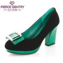 皮尔世绅秋季新品真皮金属装饰马蹄跟超高跟防水台女单鞋A130302 价格:258.00
