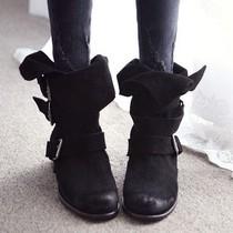 2013秋冬新款时尚韩版女靴子圆头骑士靴单靴机车靴磨砂真皮短靴 价格:198.00