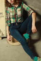 2013夏季韩版淑女修身格子衬衫女英伦风显瘦中袖纯棉衬衣女潮S159 价格:118.00