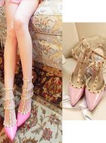 2013年新款 VA 欧美朋克范 钉钉尖头高跟鞋 粉色 女韩版潮鞋夜店 价格:178.00