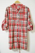 孕妇装 日原单 孕妇格子中袖衬衫 长款宽松大版衬衫格子短连衣裙 价格:43.00