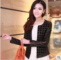 2013新款秋装女装韩版修身大码短款PU水洗机车夹克外套特价皮衣女 价格:188.00